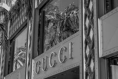 圈地驱动的古驰商店在贝弗莉山庄-加利福尼亚,美国- 2019年3月18日 免版税库存图片