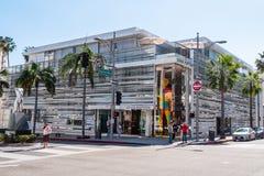 圈地驱动的路易・威登商店在贝弗莉山庄-加利福尼亚,美国- 2019年3月18日 库存图片