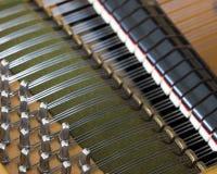 圈套别针和喑哑在老bechstein大平台钢琴里面 免版税库存图片