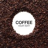 圈子与拷贝空间的咖啡豆框架 免版税库存照片