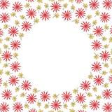 圈子与花和叶子的边界框架 免版税库存图片