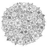 圈子东方花卉黑白 向量例证