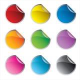 圈子五颜六色的光滑的集贴纸 免版税图库摄影