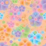 圈子五颜六色的大花无缝的样式 库存照片