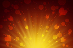 圈子和心脏黄色抽象背景 庆祝 爱 免版税库存照片