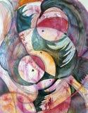 圈子和羽毛-抽象水彩和墨水绘画 免版税库存图片