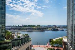 圈子在港口东部在巴尔的摩,马里兰从上面 免版税库存照片