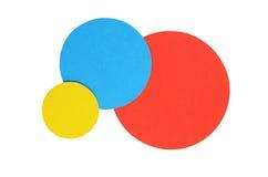 圈子在白色隔绝的颜色纸 库存照片