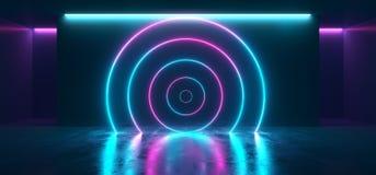圈子塑造了舞蹈点燃室反射典雅的Sci的霓虹发光的萤光充满活力的紫色桃红色蓝色空的阶段演播室 向量例证