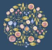 圈子水彩在蓝色的花构成 向量例证