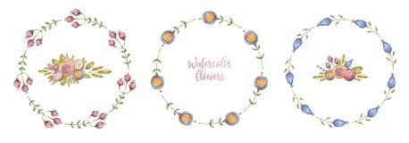 圈子水彩花框架,框架集合 向量例证