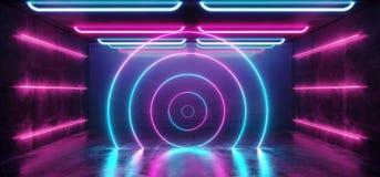 圈子激光背景霓虹减速火箭的未来派科学幻想小说现代太空飞船光滑的光谱紫色蓝色充满活力的桃红色彩虹难看的东西 向量例证
