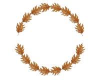 圈子由几片棕色叶子制成,伟大为文本 免版税库存图片