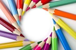 在白色背景隔绝的色的铅笔 免版税图库摄影
