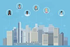 圈子的人民在城市沟通的传染媒介例证 社会媒介和社会网络概念 皇族释放例证