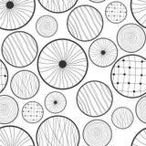 圈子的无缝的黑白抽象样式 库存例证