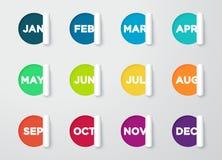 圈子纸被删去的笔记与日历的几个月 库存图片