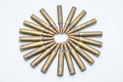 圈子老步枪弹药筒5 在白色背景的56 mm 图库摄影
