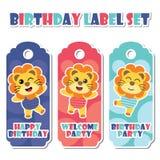 圈子背景动画片例证的逗人喜爱的五颜六色的狮子男孩生日标签的 库存例证