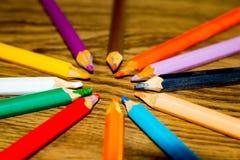 圈子色的铅笔 库存照片