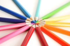 圈子色的铅笔 免版税库存照片