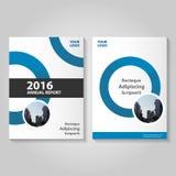 圈子蓝色传染媒介年终报告传单小册子飞行物模板设计,书套布局设计,书套 免版税库存照片