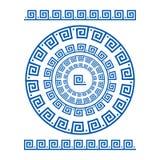 圈子装饰品河曲 圆的框架,古老元素玫瑰华饰  希腊全国古色古香的圆的样式, 长方形脉冲 免版税图库摄影