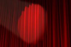 圈子阐明的红色天鹅绒纹理塑造了聚光灯 免版税库存照片