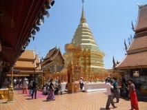 土井素贴,在小山,清迈,泰国的金黄寺庙 免版税图库摄影