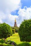 土井inthanon的塔在Chiangmai省,泰国 图库摄影