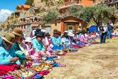 土产玻利维亚的妇女 免版税图库摄影