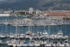 土伦,法国,小游艇船坞 库存照片