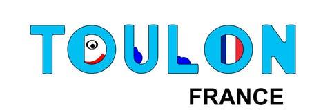 土伦-法国,在蓝色的抽象题字 免版税库存图片