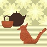 黏土做的茶道集合 免版税库存图片
