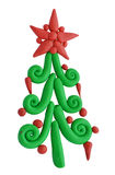黏土在白色或杉木隔绝的圣诞节云杉 免版税图库摄影