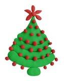 黏土在白色或杉木隔绝的圣诞节云杉 免版税库存照片