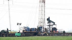 土地石油钻井船具 影视素材