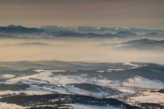 土坎和谷在薄雾在发光的早晨光斯洛伐克 库存照片