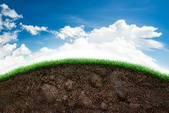 土壤和草在蓝天 免版税库存图片