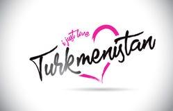 土库曼斯坦我爱与手写的字体和桃红色心形的词文本 免版税库存图片