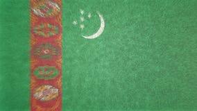 土库曼斯坦3D的原始的旗子图象 皇族释放例证