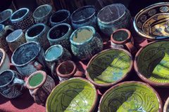 黏土手工制造罐 库存图片