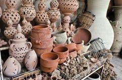 黏土手工制造陶瓷,突尼斯,非洲 库存照片