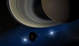 土星和航海者探针,空间 免版税库存图片