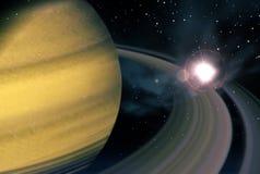 土星和超新星 免版税库存图片