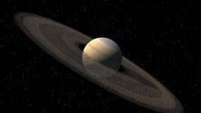 土星喜欢与小行星圆环的行星 股票录像