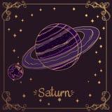 土星 土星手中绘画风格的风格化例证 占星术和天文的标志 皇族释放例证