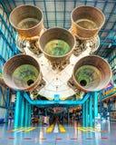 土星5火箭的第一阶段引擎 免版税库存照片