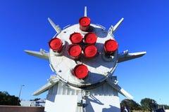 土星1B火箭在火箭队庭院里 免版税库存照片