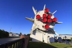 土星1B火箭在火箭队庭院里 免版税库存图片